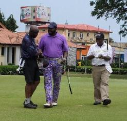 McBeth (center) playing alongside Vice Admiral Dele Ezeoba, Chief of Naval Staff Nigerian Navy (left) and Rear Admiral Ibok-Ete Ekwe Ibas, Nigerian Navy, Flag Officer Commanding, Western Naval Command (right) in the Zenith Bank Nigerian Navy Pre-Conference Golf Kitty Tournament on 26 August 2013.