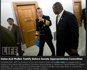Admiral Mike Mullen, Chairman of the Joint Chiefs, and his Special Advisor, Vince McBeth, walk to Senate Hearing